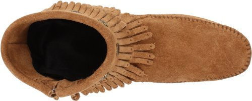 Minnetonka Women's Double Fringe Side Zip Boot Unlined Moccasin Boot Short Shaft Boots and Bootees Beige L9hVLAC5Ss