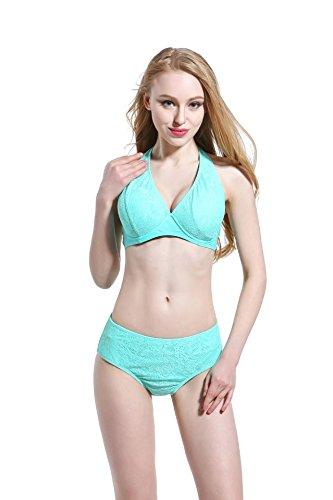 SZH YIBI La Sra Bikini Europa era delgado y de color puro de gran tamaño dividido traje de baño traje de baño de alta elasticidad Green
