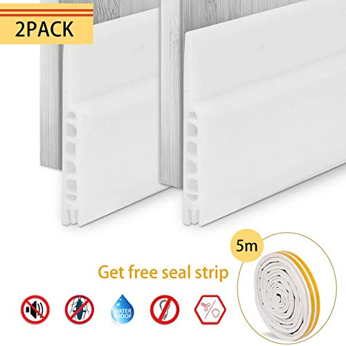 Under Door Seal, Aufisi 2 pcs Strong Adhesive Door Draft Stopper Door Sweep Blocker for Soundproof, Door Bottom Seal White 1.7