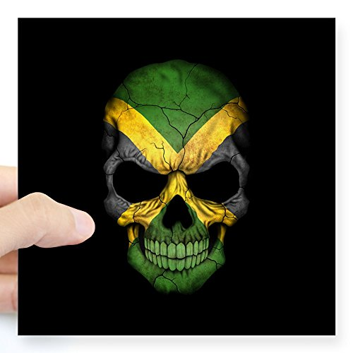 """CafePress Jamaican Flag Skull On Black Sticker Square Bumper Sticker Car Decal, 3""""x3"""" (Small) or 5""""x5"""" (Large)"""