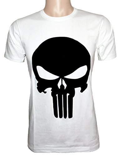 [Ranger Return Men's The Skull T Shirt Tee Costume - White (Large)] (Punisher Costumes For Sale)