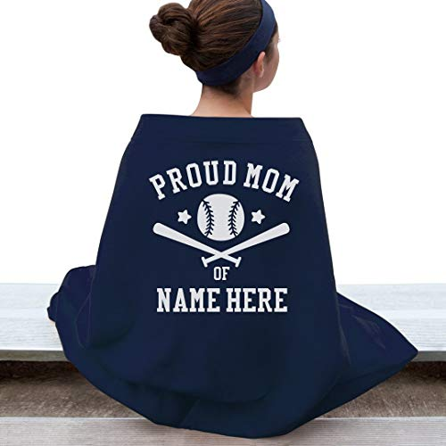 Customized Girl Proud Baseball Mom Blanket: Gildan DryBlend Stadium Blanket