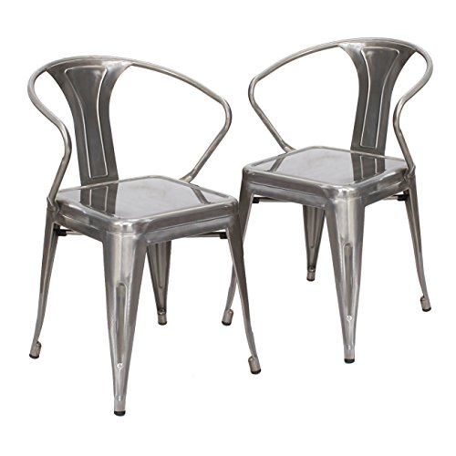 Abbie Home Set of 2 Vintage Tolix Style Metal Chairs - Brushed Transparnt Gunmetal, Clear Gloss Finish- Sturdy and Stackable (Transparent+Arms)