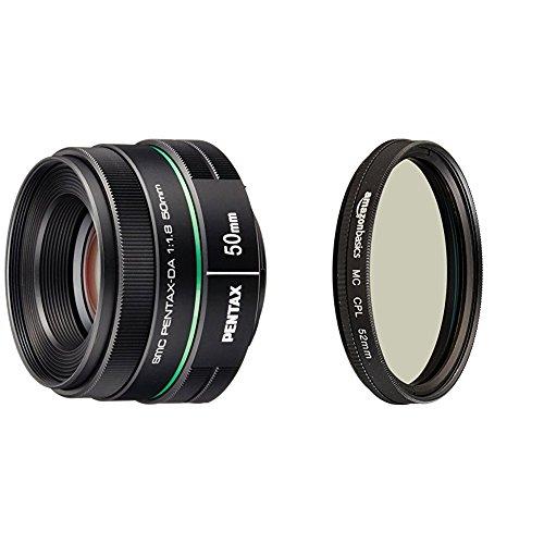 Lente Pentax DA 50 mm f1.8 para cámaras Pentax DSLR con lente polarizador circular Amazon Basics - 52 mm