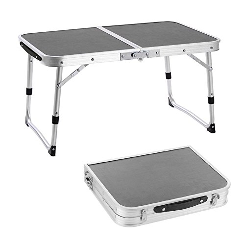 ROKOO Aluminum Folding Laptop Desk Portable Table Breakfast Bed Tray Height Adjustable Outdoor Camping Table Lightweight Mini Table for Camping, Beach, Backyards, Party and Picnic