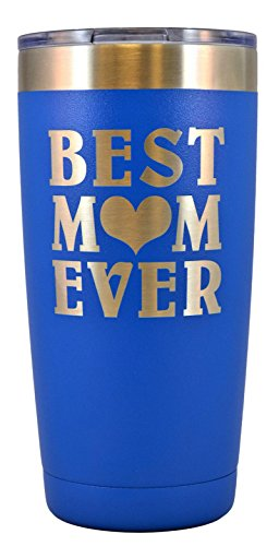 MOM GIFT – Engraved BEST MOM EVER Stainless Steel Polar Camel Tumbler 20 oz Vacuum Insulated Large Travel Coffee Mug Hot & Cold Drinks Birthday Christmas Mothers Day Beach Pool Party (Blue)