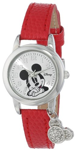 Disney Women's MK1042 Mickey Mouse Watch with Red Leather (Disney Mickey Mouse Watch)