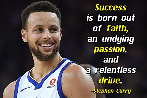 Stephen Curry Poster Quote Cool Golden State Warriors Steph Curry Quotes Posters Basketball Sports Décor Coaching Wall Art Growth Mindset Teacher Educational Teaching Learning Mindsets Quotes P059 (Best Curry In Chicago)
