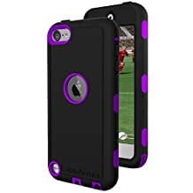 iPod Touch 6th Generation Tough Case & Jogging Clip, ExosArmor (Warrior Series) Tough Cover for Apple iTouch 5/6 [Triple Layer] Hybrid Shell w/ Built In Screen Protector (Purple)