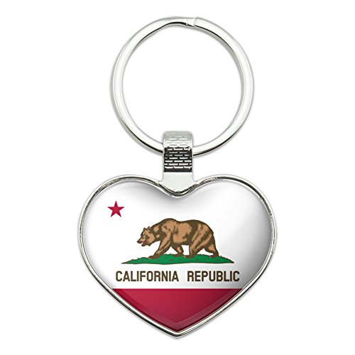 California Republic State Flag Heart Love Metal Keychain Key Chain Ring