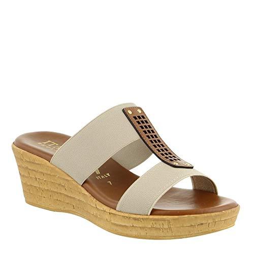 ITALIAN Shoemakers Womens Bello Wedge Sandal (7.5 M US, Taupe)
