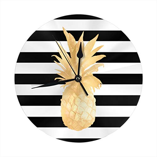 - LALACO-Design Gold Pineapple Black and White Stripes Round Wall Clock for Home,Office,School Decorative 9.8 Inch Battery Operated