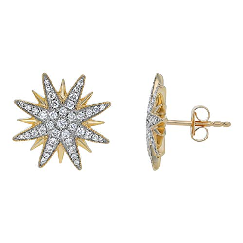 Olivia Paris 14k Yellow Gold Shooting Star Pavé Diamond Stud Earrings (3/8 cttw, H-I, ()