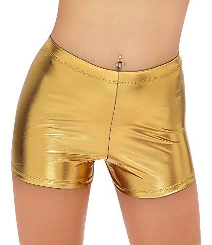 (NIliker Women Leather Wet Look Metallic Shorts Shiny Bottoms (Medium, Ni21027 Gold))