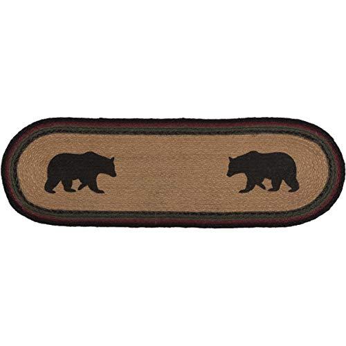 VHC Brands 34130 Rustic & Lodge Flooring-Wyatt Tan Bear Oval Jute Stair Tread with Latex, Brown
