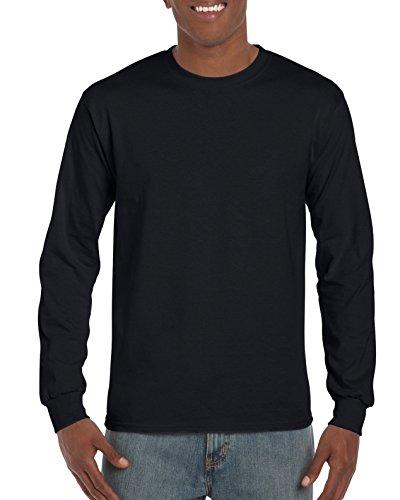 Gildan Men's Ultra Cotton Adult Long Sleeve T-Shirt, 2-Pack, Black, (Casual Long Sleeved T-shirt)