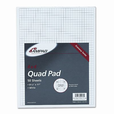 15lb Quadrille Pad with 4 Squares/Inch, Ltr, White, 50 Sheets [Set of 3] -