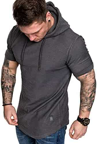VEZAD Men Summer Solid Color Hooded T Shirt Short SleeveTop Fashion Casual Blouse