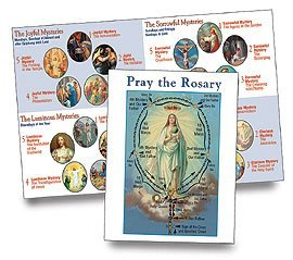 Rosary Cards Prayer (Religious Gifts Pack of 100 How to Pray the Rosary Pamphlet for First Communion or New Catholic)