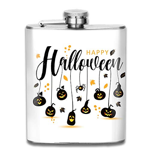 Stainless Steel Wine Pot Halloween Happy Pocket Flask for Storing Whiskey Alcohol Liquor, 7 oz -