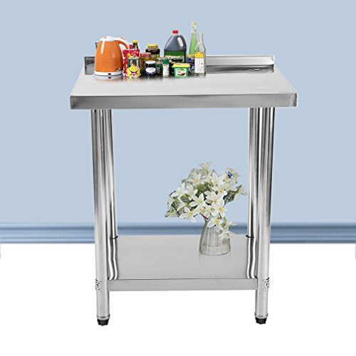 Homgrace Worktable Stainless Steel Kitchen Food Prep Table for Restaurant, Business, Warehouse, Home, Kitchen, Garage. (30'' x 24'' x 35''table with backsplash)