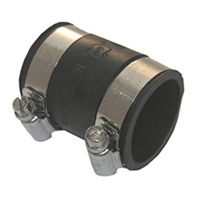 "LASCO 25-6816 Flexible Rubber Connector for Drain Pipe with Clamps for 2"" Pipe To 2"" Cast Iron"