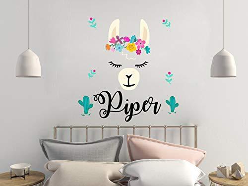 N.SunForest Llama Wall Decal/Personalized Girls Name Decals/Alpaca Llama Nursery Decor/Baby Girl Name Wall Sticker/Animal Llama Girl Room