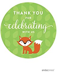 Andaz Press Woodland Forest Baby Shower Collection, Round Circle Label Stickers, Thank You for Celebrating with Us!, 40-Pack, Fox Themed Party Decorations