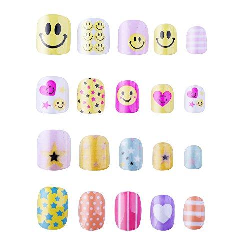 128PCs Different Nails 28 Sizes Smiling face Candy Cute Carton Children False Nails For Children's - Face Almond Shaped