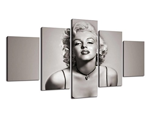 Canvas Monroe Art Marilyn (Vintage Marilyn Monroe Painting on Canvas Retro Black White Wall Art Artwork 5 Panel Multi Piece Posters and Printed Picture for Living Room Giclee Home Decoration Framed Ready to Hang(60''Wx32''H))