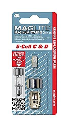 C /& D 5 Maglite 1 BOMB.Mag-num Star II Xenon 5DC Bombilla