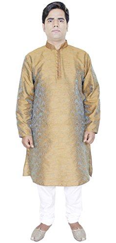 button-up-kurta-pajama-shirt-brown-fashion-dress-silk-clothes-for-men-m