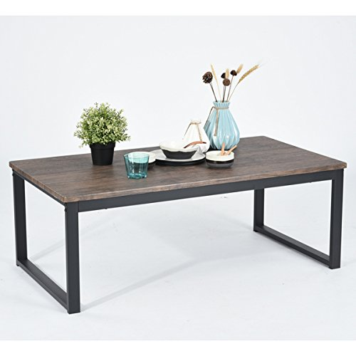 Vintage Dark Brown Black Metal Frame Cocktail Coffee Table 44″ Wide