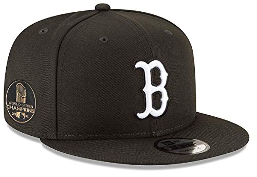New Era Boston Red Sox 2018 World Series Champions Side Patch White on Black Snapback Adjustable Hat (Series Sox Hat Red World)