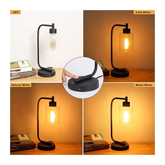 Innqoo Touch Control Table Lamp, 3 Way Dimmable Industrial Desk Lamp with USB Charging Ports, Modern Nightstand Lamp, Metal Bedside Lamp for Dorm, Bedroom, Living Room (ST64 Vintage Bulb Included) - 🎁【3 Way Dimmable Touch Control Design】- Touch bedside lamp with 4 settings (Low, Medium, High, Off), The Low setting is perfect for nightstand mode, the Medium setting suitable for daily use and High setting is very bright for reading mode. This touch-sensitive lamp can be easily controlled over by people of all ages.(We suggest you use the vintage T45 Bulb, it is the best match to our touch table lamp) 🎁【Dual Usb Charging Ports】- The Industrial desk lamp is convenient for phones, power banks or other devices charging with dual USB charging ports, reducing the use of socket plug as well greatly promote the use of space.(It is a perfect gift for your friends and family on Black Friday, Cyber Monday) 🎁【Minimalist Industry Design】- The bedside table lamp features a heavy-duty tubular metal body and base, is designed with minimalist industry style. Easy to attract guest's attention and perfect for bedroom, living room or coffee room or any places. - lamps, bedroom-decor, bedroom - 418EH1OrtNL. SS570  -