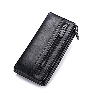 Leather Secretary Wallet - Slim Long Multipurpose Versatile Vertical Bifold Checkbook Cover