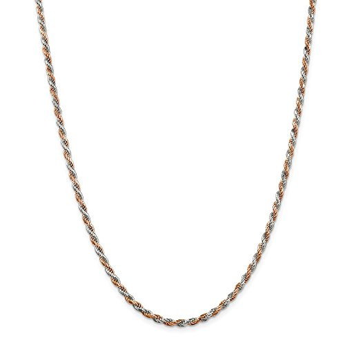 925 Sterling Silver 2.5mm Rose Vermeil Diamond-cut Rope Chain 18 (Rose Vermeil Rope Chain)