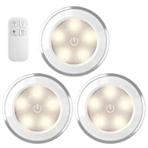AMIR 3 PCS Tap 5 LED Night Light Battery Operated, Warm White With Wireless Remote Control, Touch Switch Energy Saving Bedside Sensor Lamp For Bedroom, Kids, Lockers, Hallway, Staircase