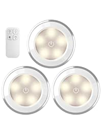 AMIR Wireless LED Puck Light 3 Pack With Remote Control , Under Cabinet Lighting , Closet Night Light, Touch Switch Energy Saving Night Light for Bedroom, Lockers, Hallway, Stair(Battery Not Included) BOBEBE Online Baby Store From New York to Miami and Los Angeles