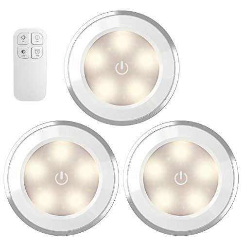 AMIR Wireless LED Puck Light with Remote Control, Under Cabinet Lighting, Closet Night Light, Touch Switch Energy Saving Night Light for Bedroom, Lockers, Stair (3 Pack, Battery Not Included) ()