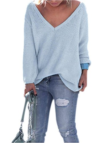lunghe Maglia Blu Maglione Jumper Neck casuale oversize V Top corte Donna allentata nSCIqgH