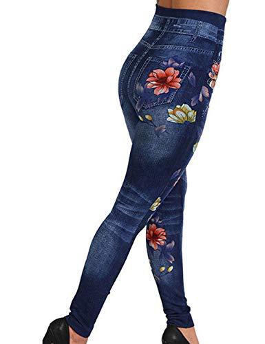 Contenitiva Vita Blu Jeans Donne Alta Pantaloni Le La Snellisceleggings Cowboy Finti wxSP0ROqqn