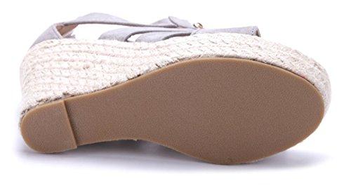 Schuhtempel24 Damen Schuhe Keilsandaletten Sandalen Sandaletten Keilabsatz Reißverschluss 10 cm High Heels Grau