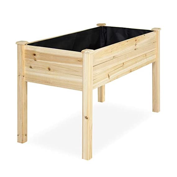 Best Choice Products 46x22x30in Raised Wood Planter Garden Bed Box Stand for Backyard, Patio - Natural 3 SPACIOUS GARDENING BED: Designed with a nearly-4-foot-long bed deep enough to ensure your plants can breathe and grow healthy DURABLE COMPOSITION: Made of 0.75-inch-thick, weather-resistant Cedar wood, this bed is built to last through the seasons ERGONOMIC STRUCTURE: Stands 30 inches tall, making it perfect for those who struggle to bend down or lean over while gardening