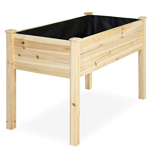 (Best Choice Products 46x22x30in Raised Wood Planter Garden Bed Box Stand for Backyard, Patio - Natural)