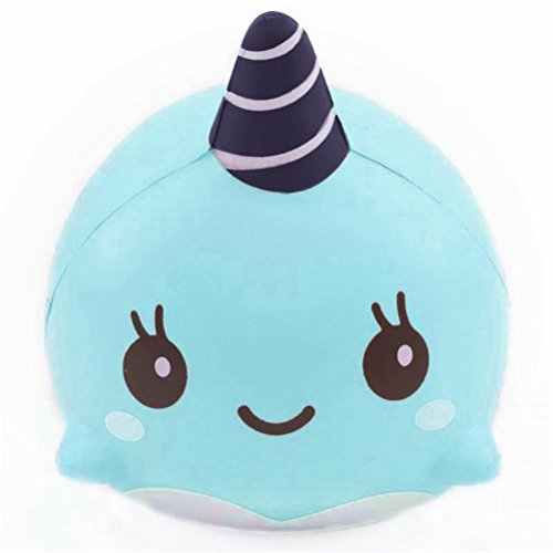 [OVERMAL 9CM Soft Whale Cartoon Squishy Slow Rising Squeeze Toy Phone Straps Ballchains] (8 People Costumes)