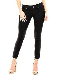 Wannabettabutt 2-Button Cuffed Anklet Jeans, Black