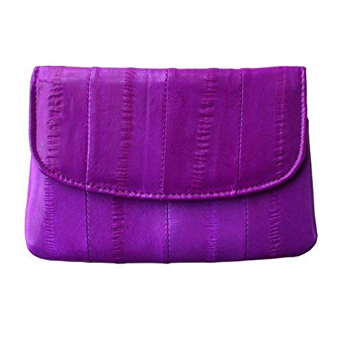 Rainbow Women's Genuine Eel Skin Leather Mini Credit Card Coin Purse (Magenta)