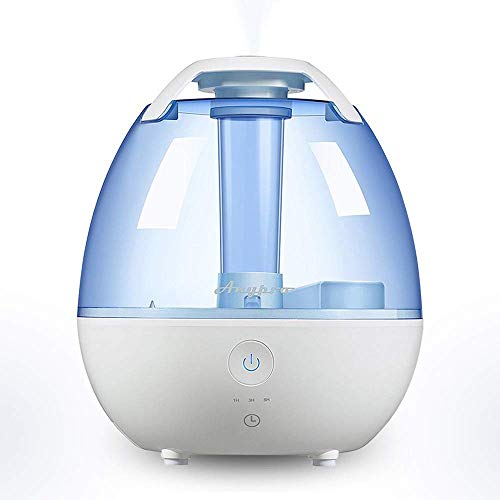 Anypro Cool Mist Humidifier, Ultrasonic Super Quiet Air Diffuser with Silver ion Antibacterial Agent, 3 Time Settings High/Low Control and Night Light Ideal for Baby Bedroom, 0.5 Gallon, Blue