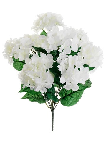 18″ Silk Hydrangea Flower Bush -White (pack of 12)